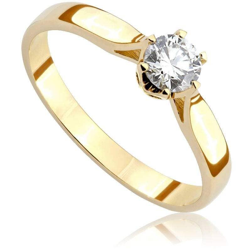 Pierścionek zaręczynowy z brylantem z żółtego złota P0203ZB