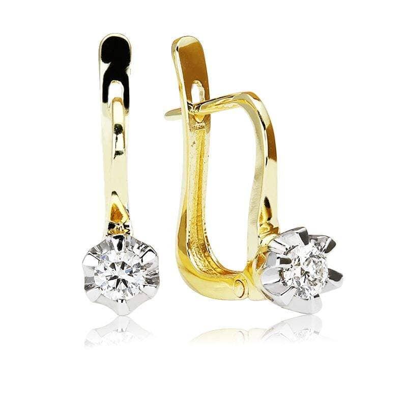 Kolczyki z diamentami z żółtego złota K1055ZB