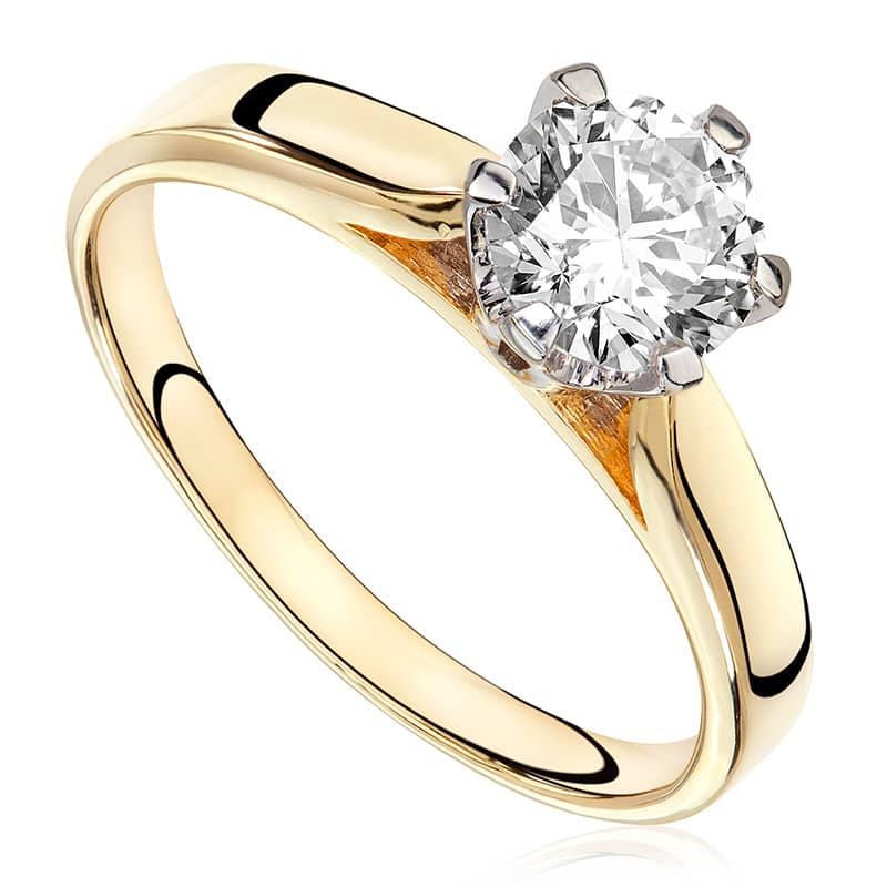 Pierścionek zaręczynowy z brylantem z białego i żółtego złota P0170TB
