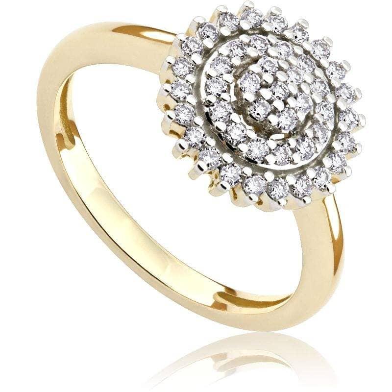 Pierścionek z diamentami z żółtego złota P0540ZBct