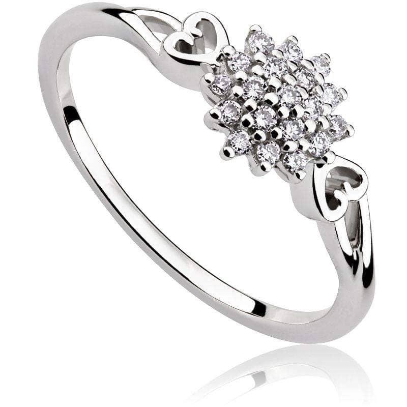 Pierścionek zaręczynowy z brylantami z białego złota P0547BB
