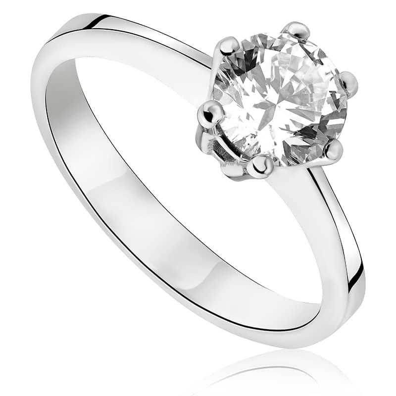 Pierścionek zaręczynowy z brylantem z białego złota P0300BB