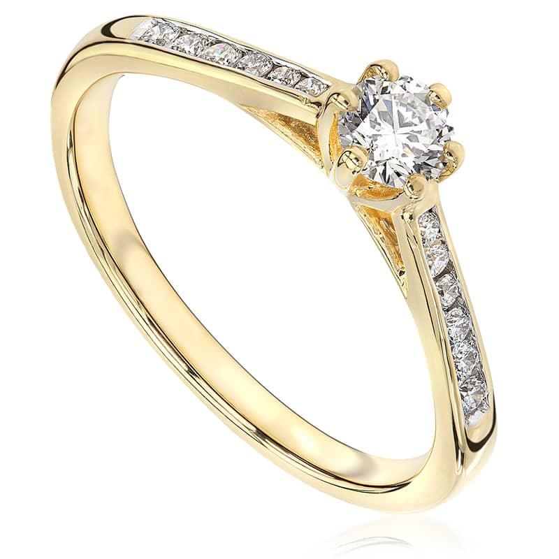 Pierścionek zaręczynowy z żółtego złota P0563ZB