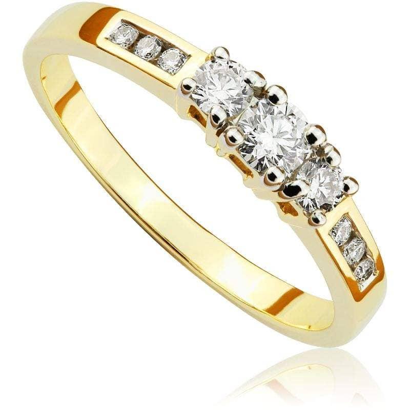 Pierścionek zaręczynowy z brylantami z żółtego złota P0489ZB