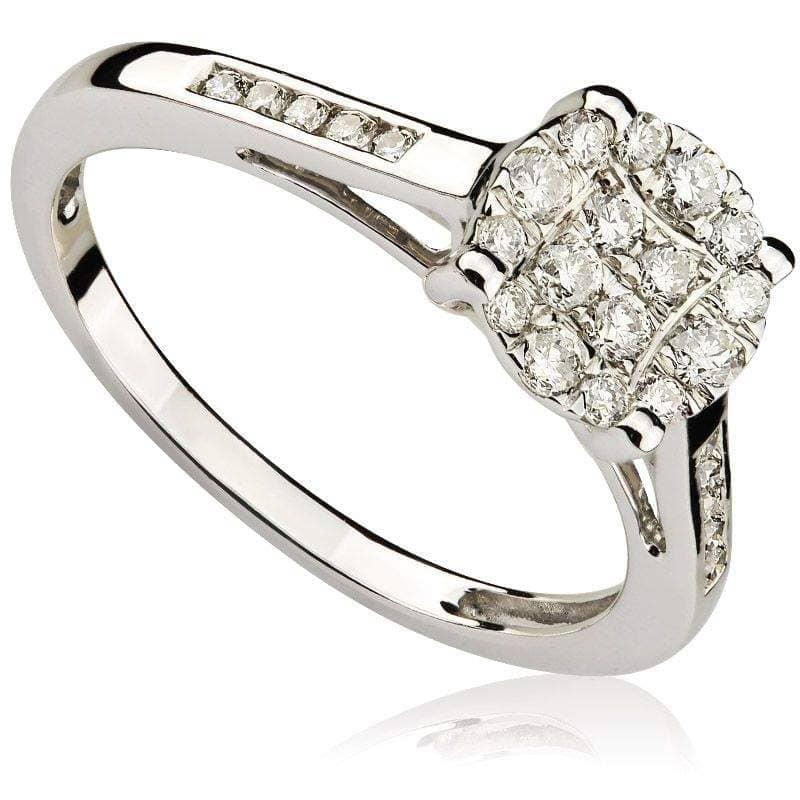 Pierścionek z diamentami z białego złota P0500BBct