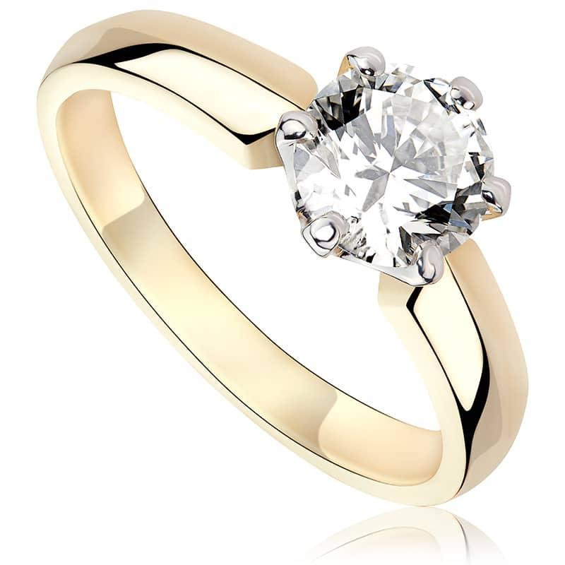 Pierścionek zaręczynowy z białego i zółtego złota P0226TB