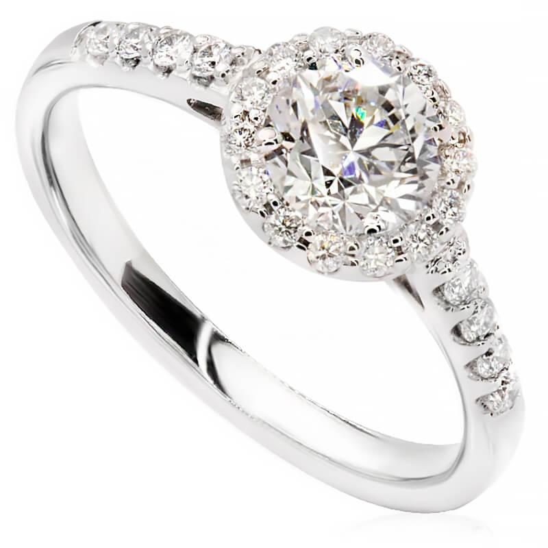 Pierścionek zaręczynowy z białego złota P0566BB