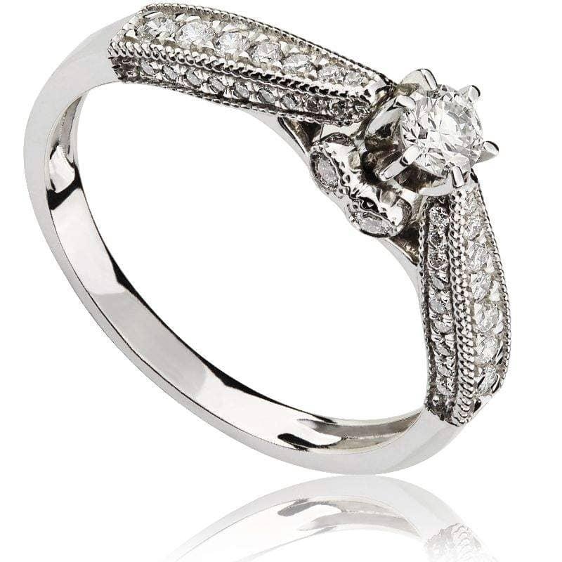 Pierścionek z diamentami z białego złota P0488BBct