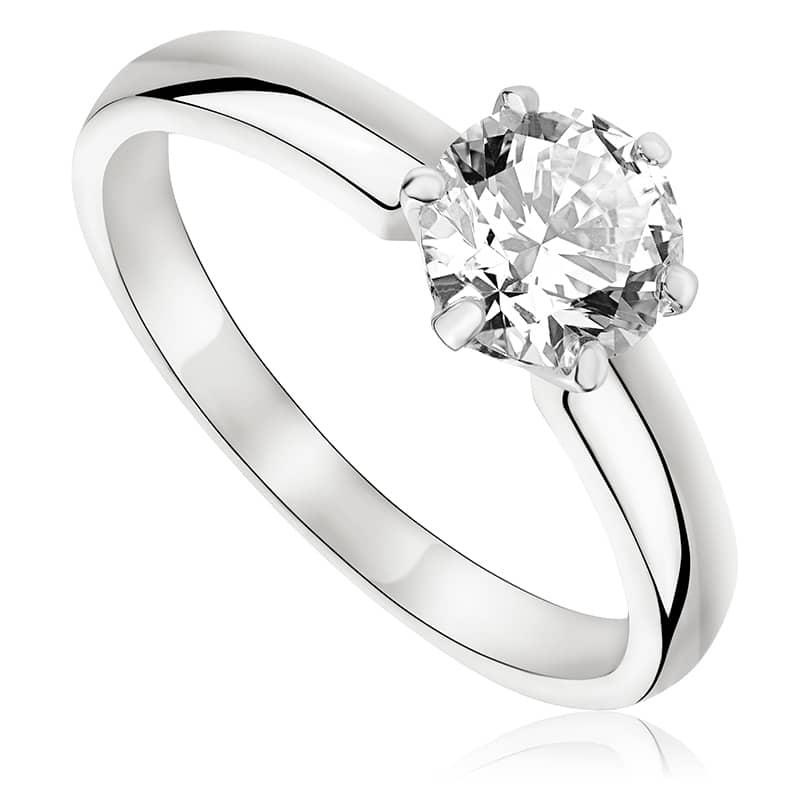 Pierścionek zaręczynowy z brylantem z białego złota P0225BB