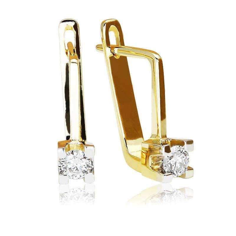 Kolczyki z brylantami z żółtego złota K1432ZB