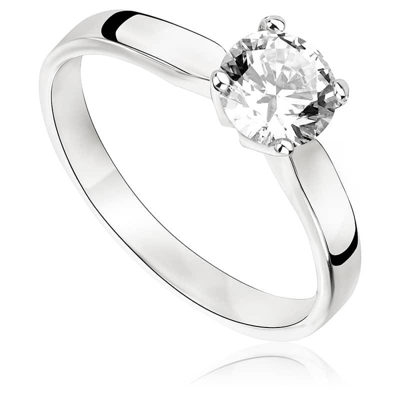 Pierścionek zaręczynowy z białego złota P0228BB