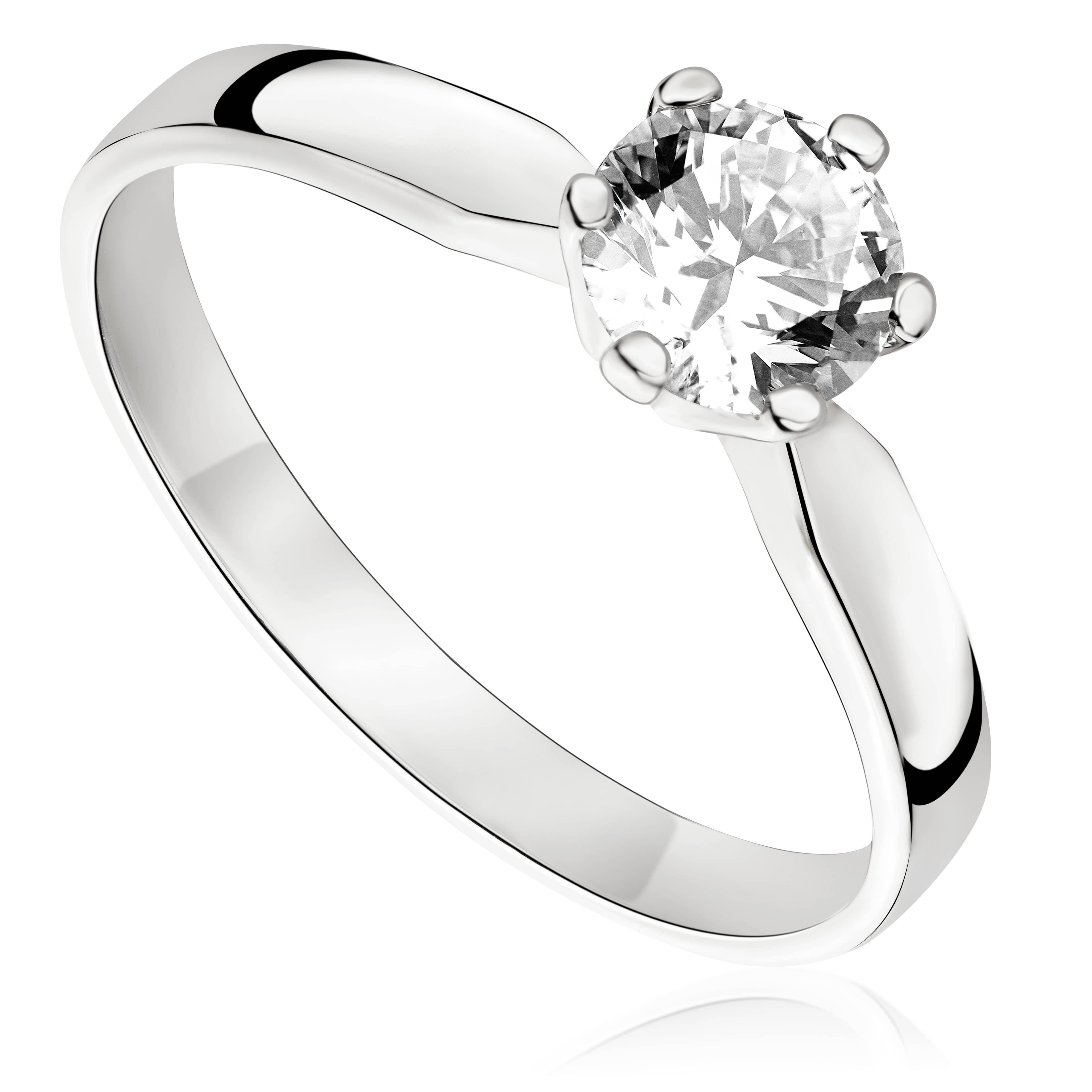 Pierścionek zaręczynowy z brylantem z białego złota P0231BB