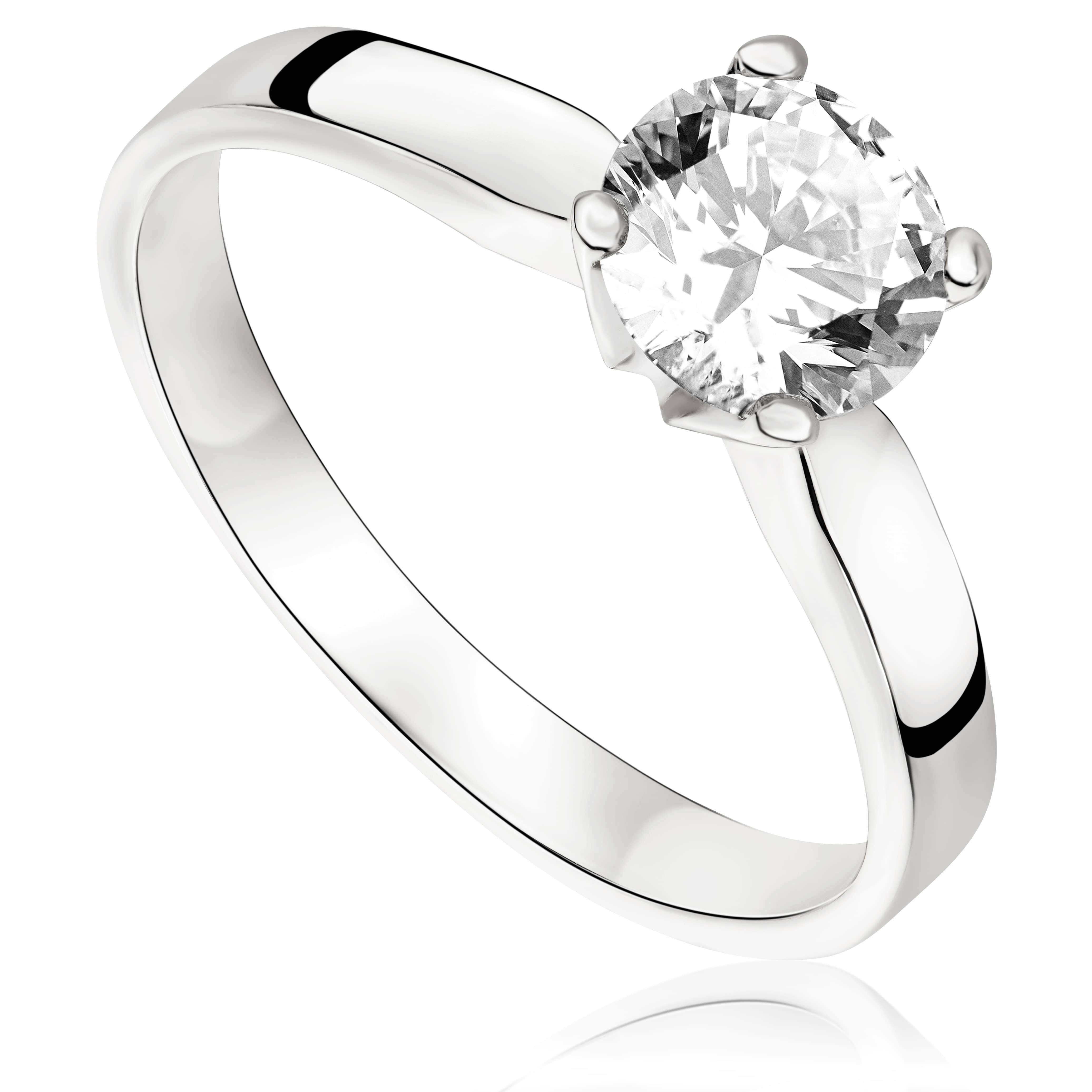Pierścionek zaręczynowy z brylantem z białego złota P0229BB