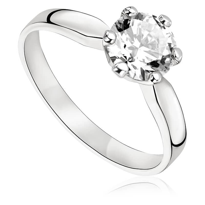 Pierścionek zaręczynowy z białego złota P0233BB