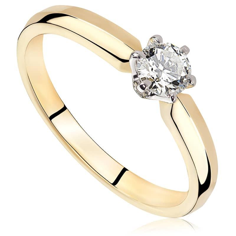 Pierścionek zaręczynowy z białego i zółtego złota P0220TB