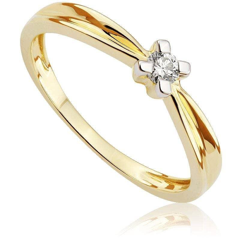 Pierścionek zaręczynowy z diamentem z żółtego złota P0520ZB