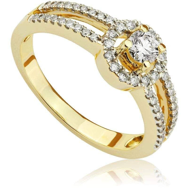 Pierścionek zaręczynowy z żółtego złota P0487ZB