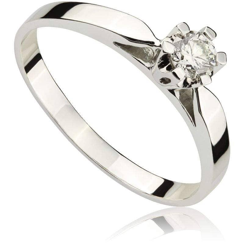 Pierścionek zaręczynowy z brylantem z białego złota P0160BB