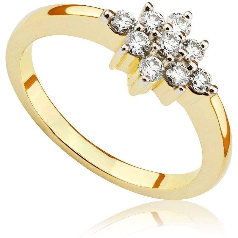 Pierścionek z brylantami z żółtego złota P0419ZBct