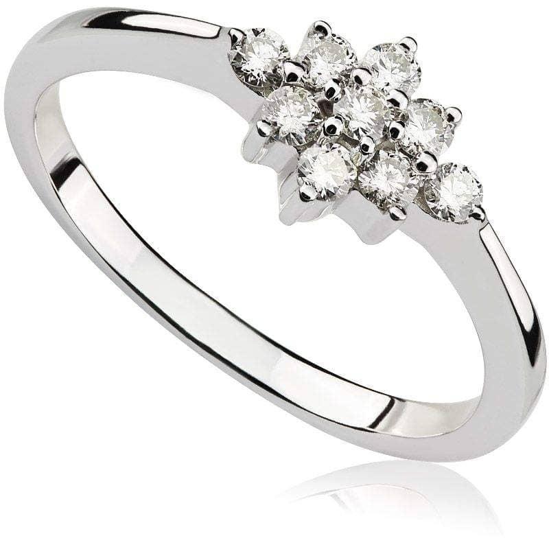 Pierścionek z diamentami z białego złota P0419BBct