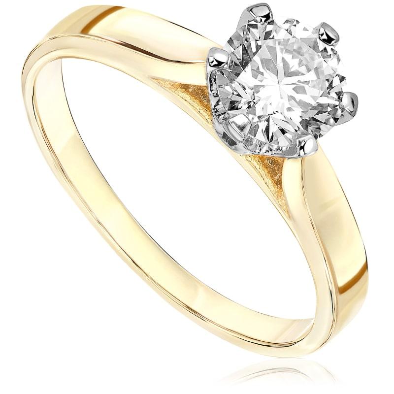 Pierścionek zaręczynowy z białego i zółtego złota P0170TB