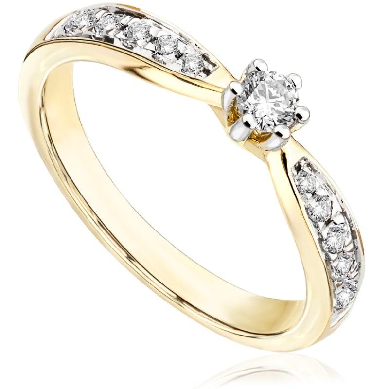 Pierścionek zaręczynowy z żółtego złota P0548ZB