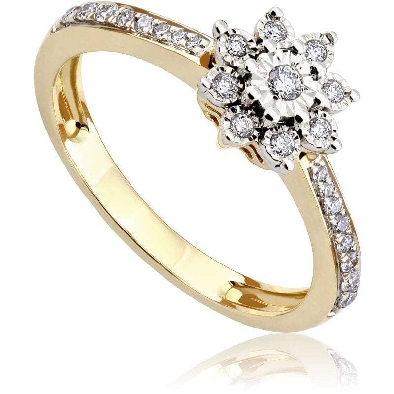 Pierścionek zaręczynowy z białego i zółtego złota P0541TB