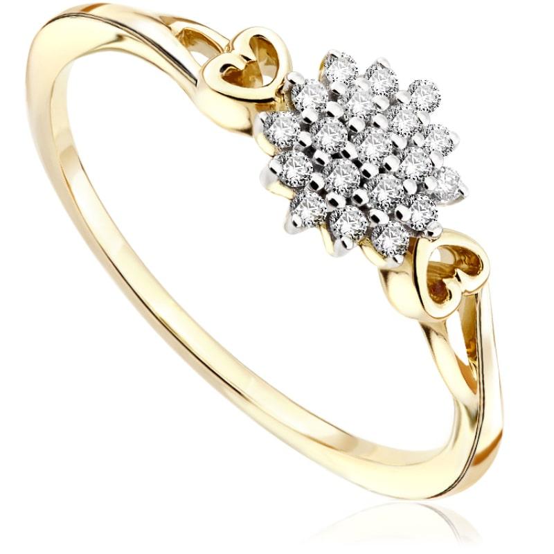 Pierścionek zaręczynowy z żółtego złota P0547ZB