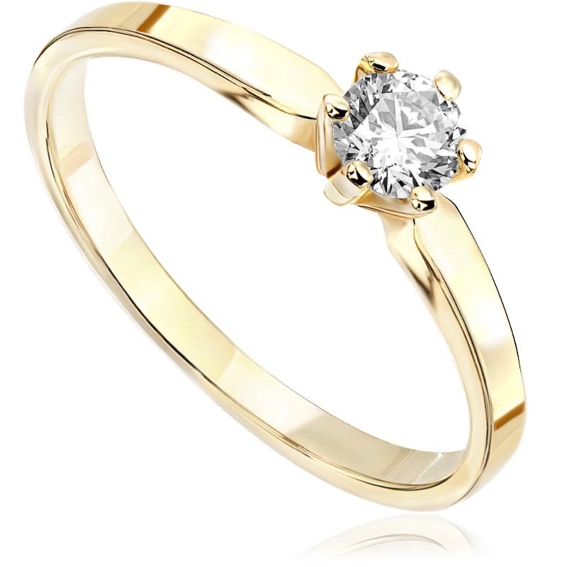 Pierścionek zaręczynowy z żółtego złota P0208ZB