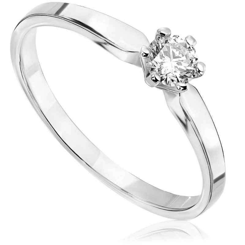Pierścionek zaręczynowy z białego złota P0209BB