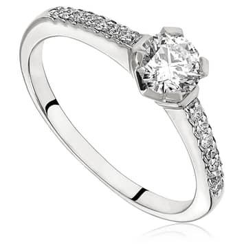 Pierścionek zaręczynowy z diamentami z białego złota P0473BB 0,50ct