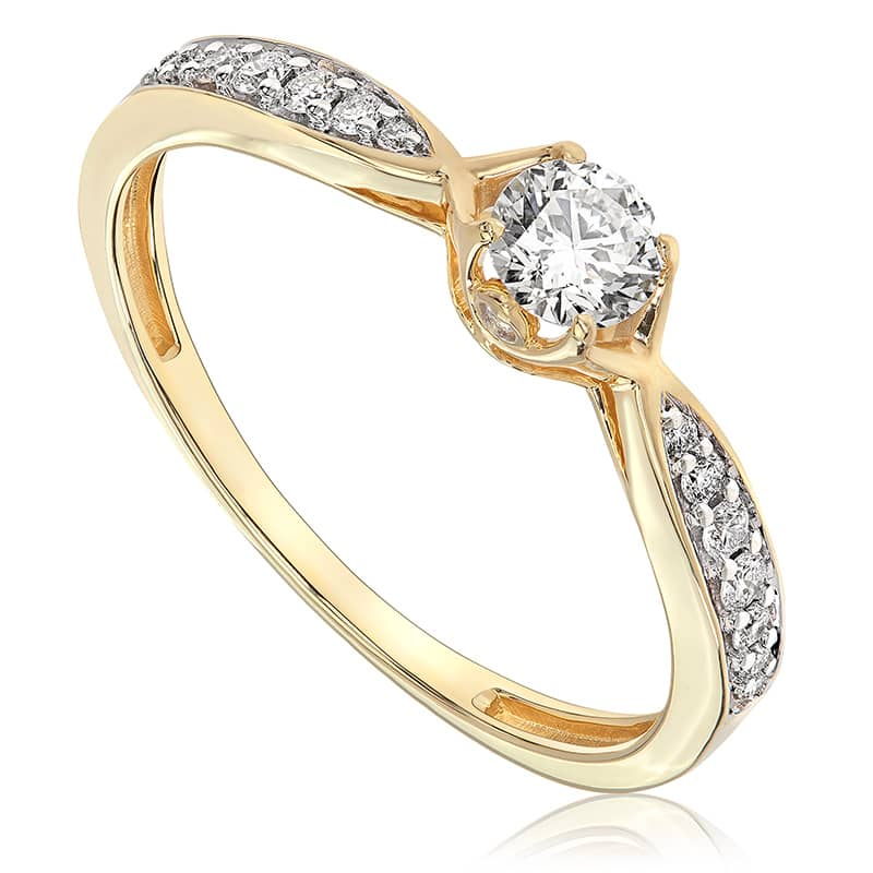 Pierścionek zaręczynowy z żółtego złota P0565ZB