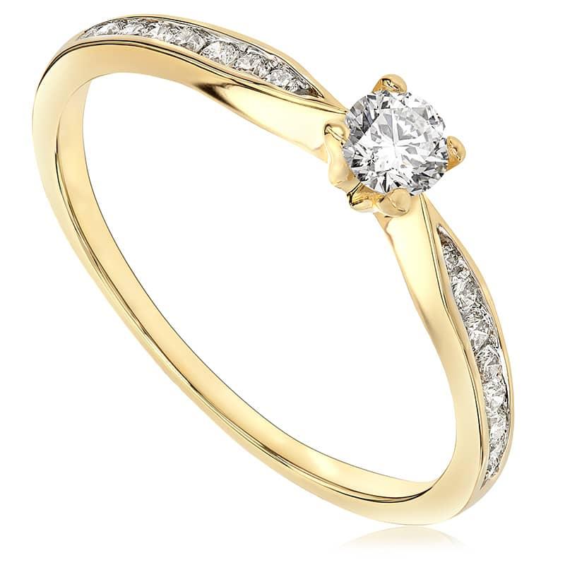 Pierścionek zaręczynowy z żółtego złota P0564ZB