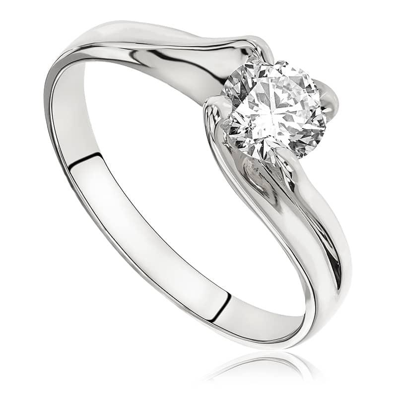 Pierścionek zaręczynowy z białego złota P0075BB