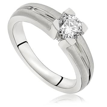 Pierścionek zaręczynowy z diamentem z białego złota P0085BB 0,50ct