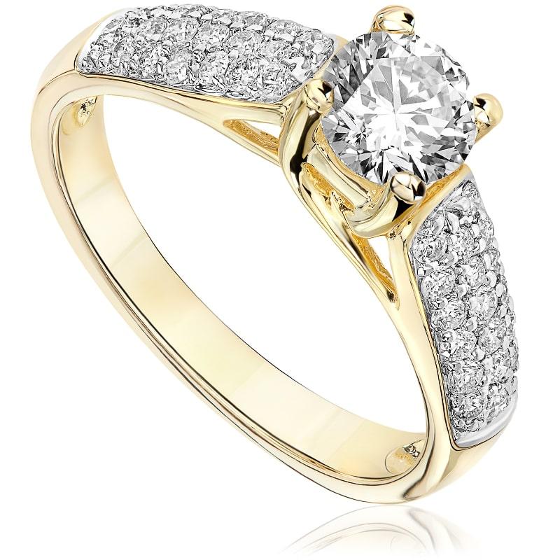Pierścionek zaręczynowy z żółtego złota P0468ZB