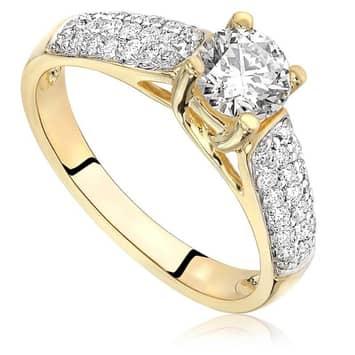 Pierścionek zaręczynowy z diamentami z żółtego złota 1,05ct