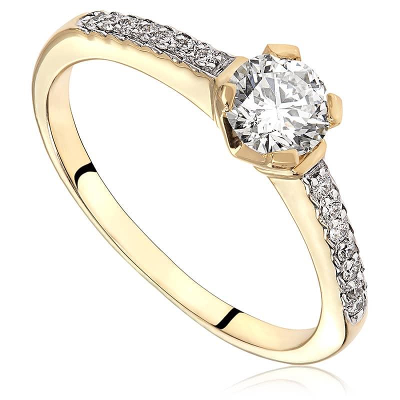 Pierścionek zaręczynowy z żółtego złota P5473ZB
