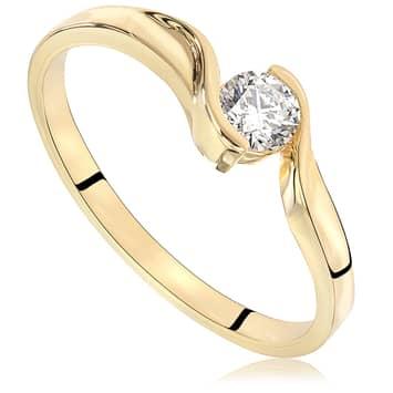 Pierścionek zaręczynowy z diamentem z żółtego złota P0218ZB 0,18ct