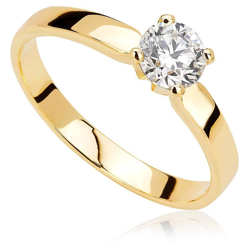 Pierścionek zaręczynowy z żółtego złota P0211ZB