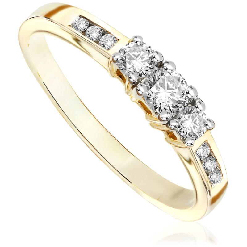 Pierścionek zaręczynowy z żółtego złota P0489ZB