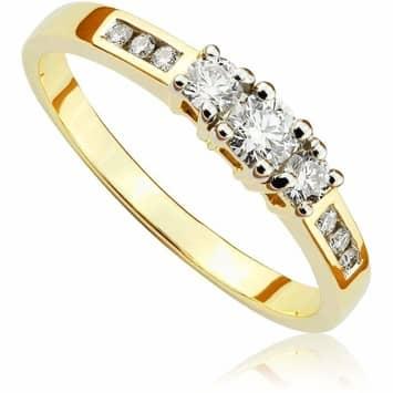 Pierścionek zaręczynowy z brylantami z żółtego złota 0,33ct