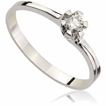 Pierścionek zaręczynowy z brylantem z białego złota P0051BB 0,16ct