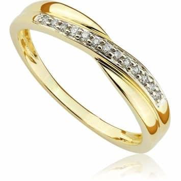 Pierścionek zaręczynowy z brylantami z żółtego złota P0447ZB 0,07ct