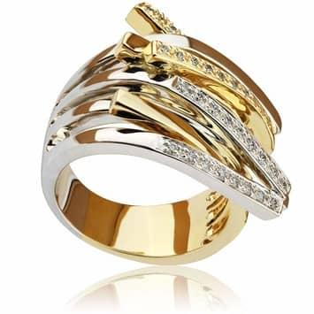 Pierścionek zaręczynowy z brylantami z białego i żółtego złota P0475TB 0,25ct