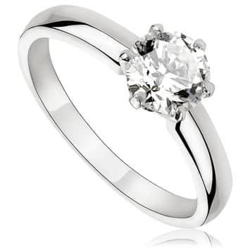 Pierścionek zaręczynowy z brylantem z białego złota P0224BB 0,70ct
