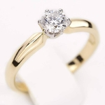Pierścionek zaręczynowy z diamentem z białego i żółtego złota P0222TB