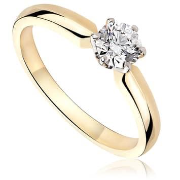 Pierścionek zaręczynowy z diamentem z białego i żółtego złota P0222TB 0,40ct