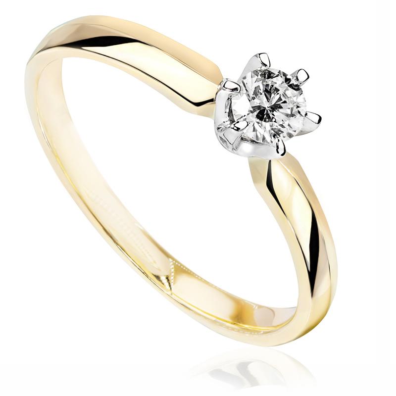 Pierścionek zaręczynowy z białego i zółtego złota P0238TB
