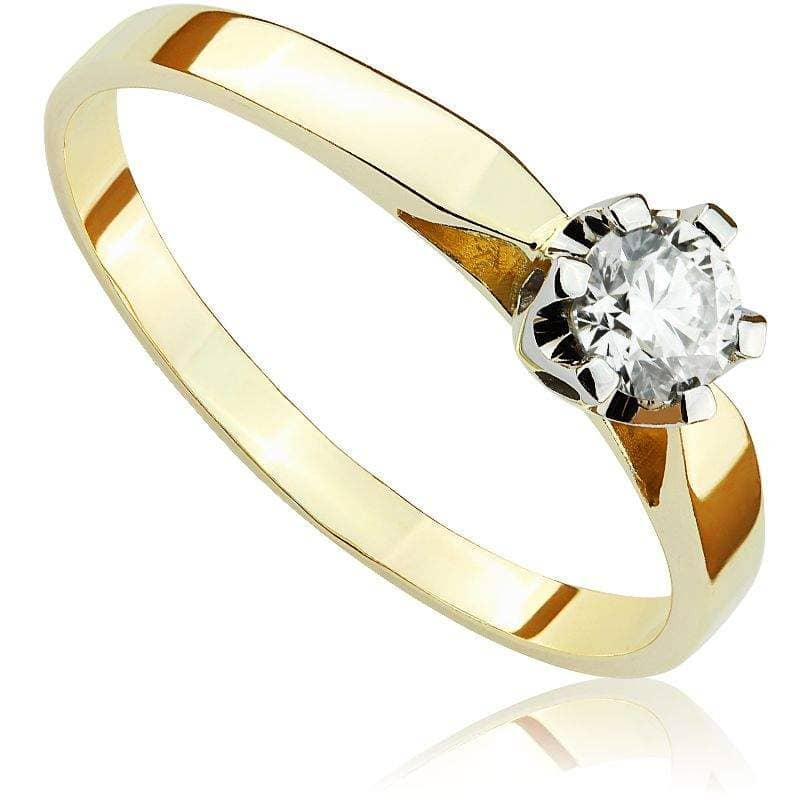 Pierścionek zaręczynowy z białego i zółtego złota P0122TB